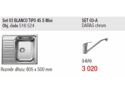 Blanco, SET Tipo 45 S Mini přírodní lesk + DARAS chrom SET 03-A